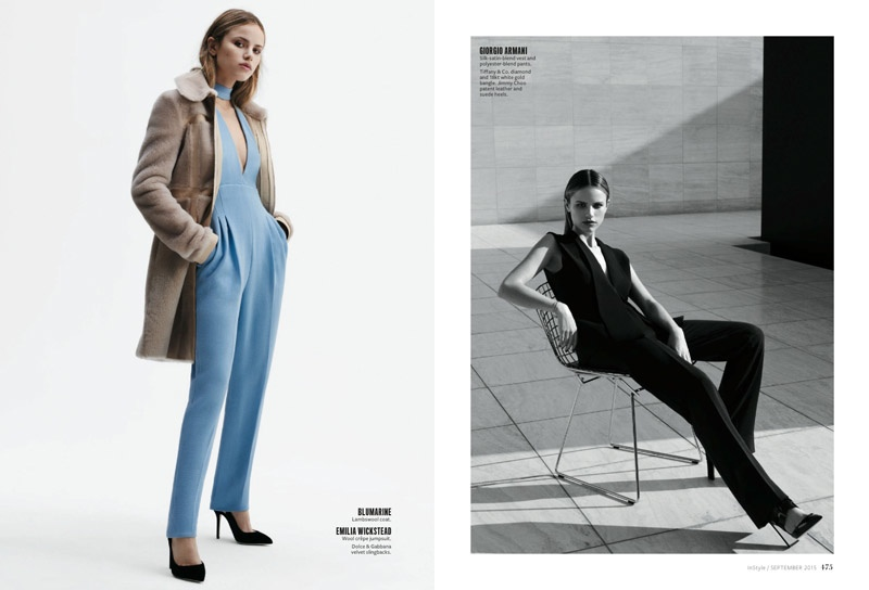 Halston takes on slim-fit pants for the feature