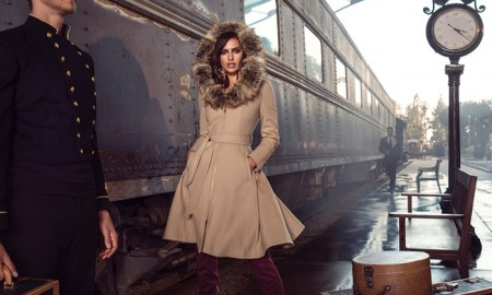 Irina poses in a train station for the new advertisements
