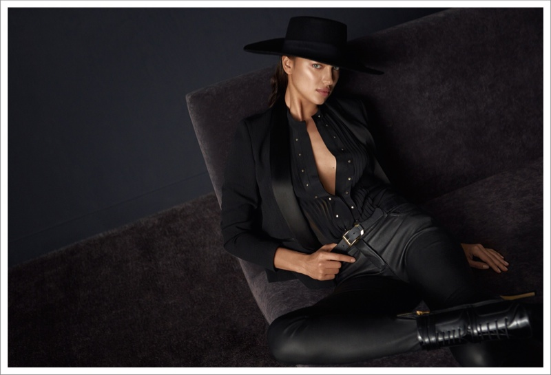 The model poses for Koray Birand in the fashion advertisements