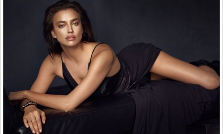 Irina looks sultry in a little black dress