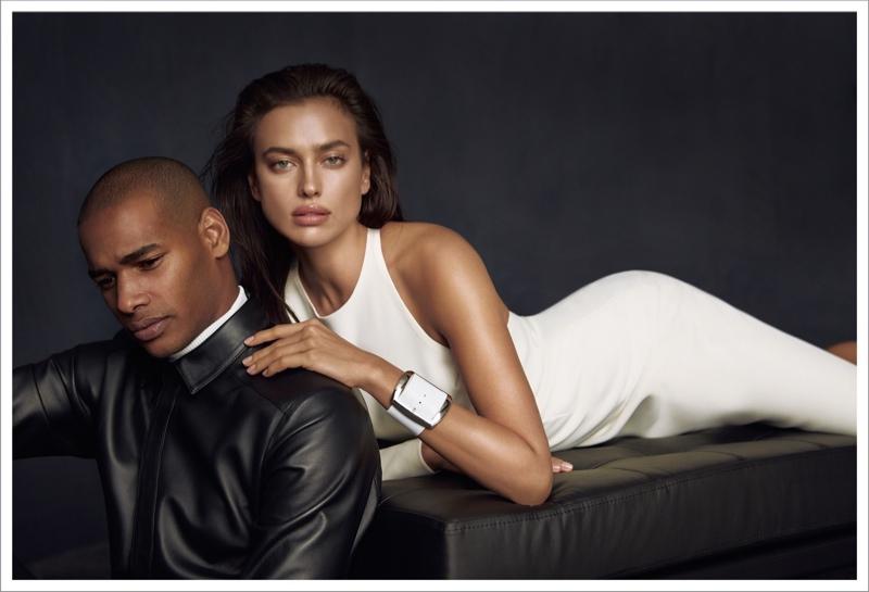Irina models alongside Sacha M'Baye in a white dress