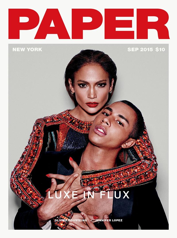 Jennifer Lopez + Olivier Rousteing Land Paper Magazine Cover