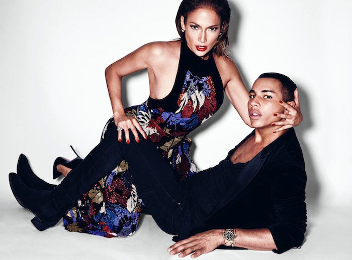 Jennifer Lopez and Olivier Rousteing pose in the fall issue of Paper Magazine