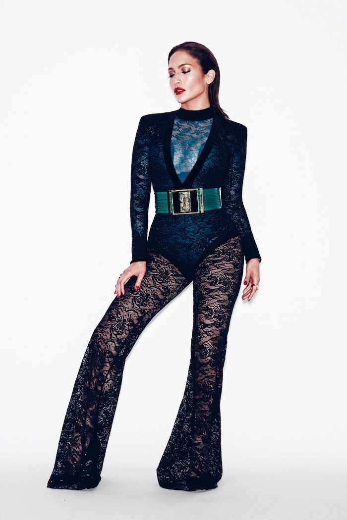 Lopez gets lacy in sheer pants from Balmain