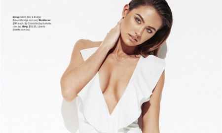 Jesinta models a white Bec & Bridge dress with ruffle embellishment