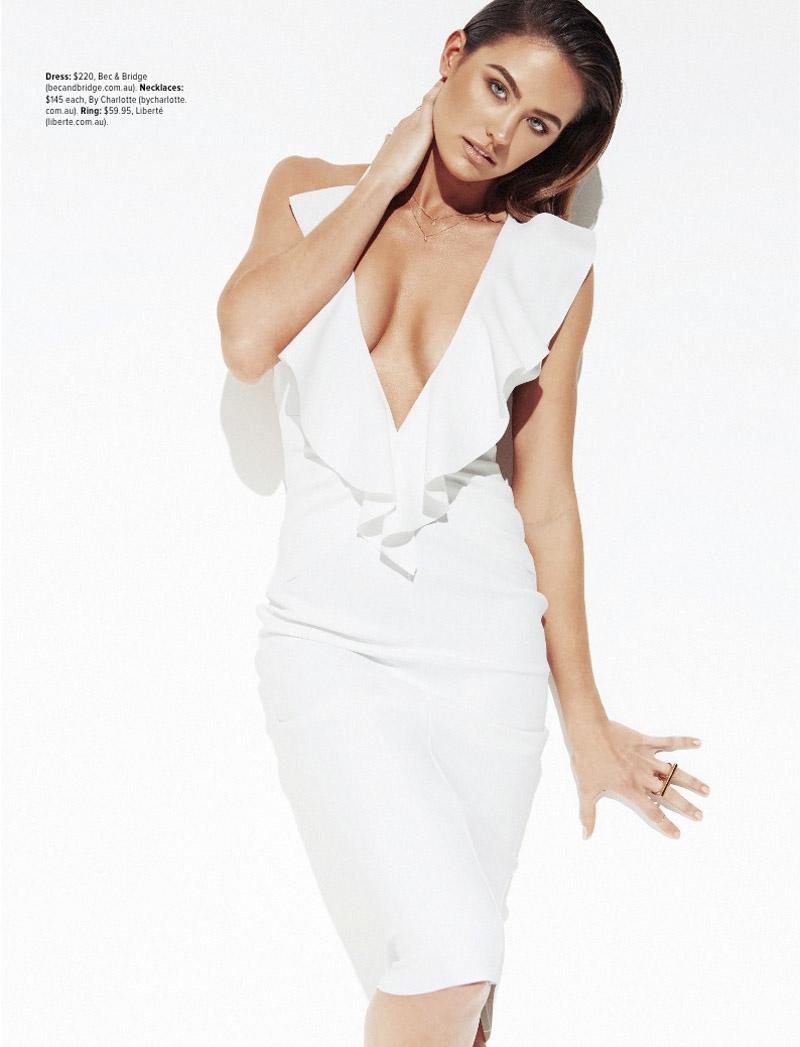 White Noise: Jesinta Campbell Wears the White Trend for Cosmopolitan Australia