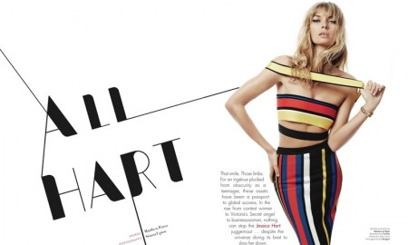 Jessica wears a Balmain striped top and skirt look for the editorial