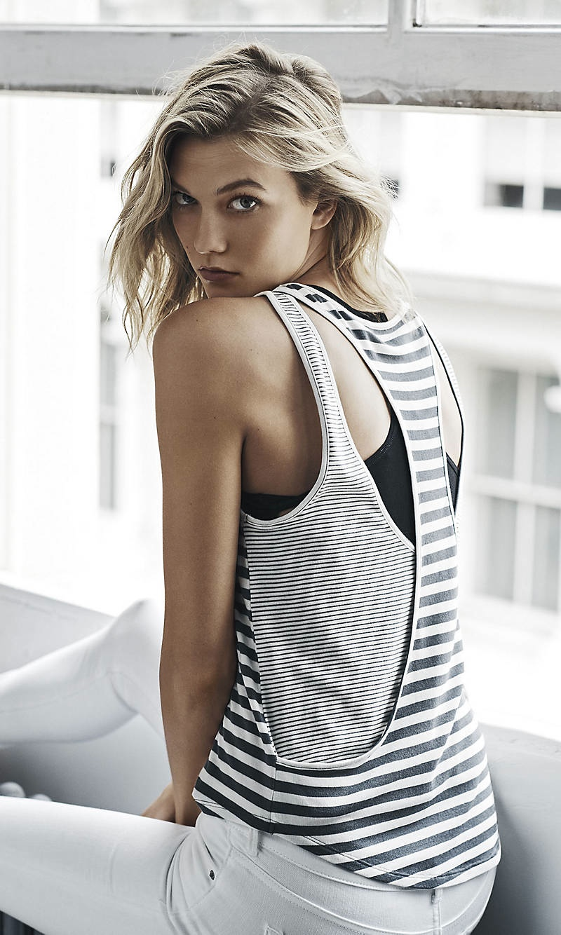 Karlie Kloss Rocks Casual Tees for Express