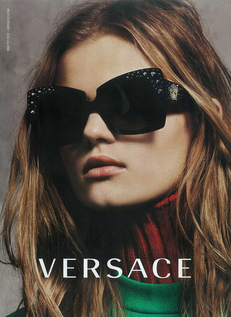 Kate Grigorieva Gets Her Closeup in Versace Fall '15 Eyewear Ad