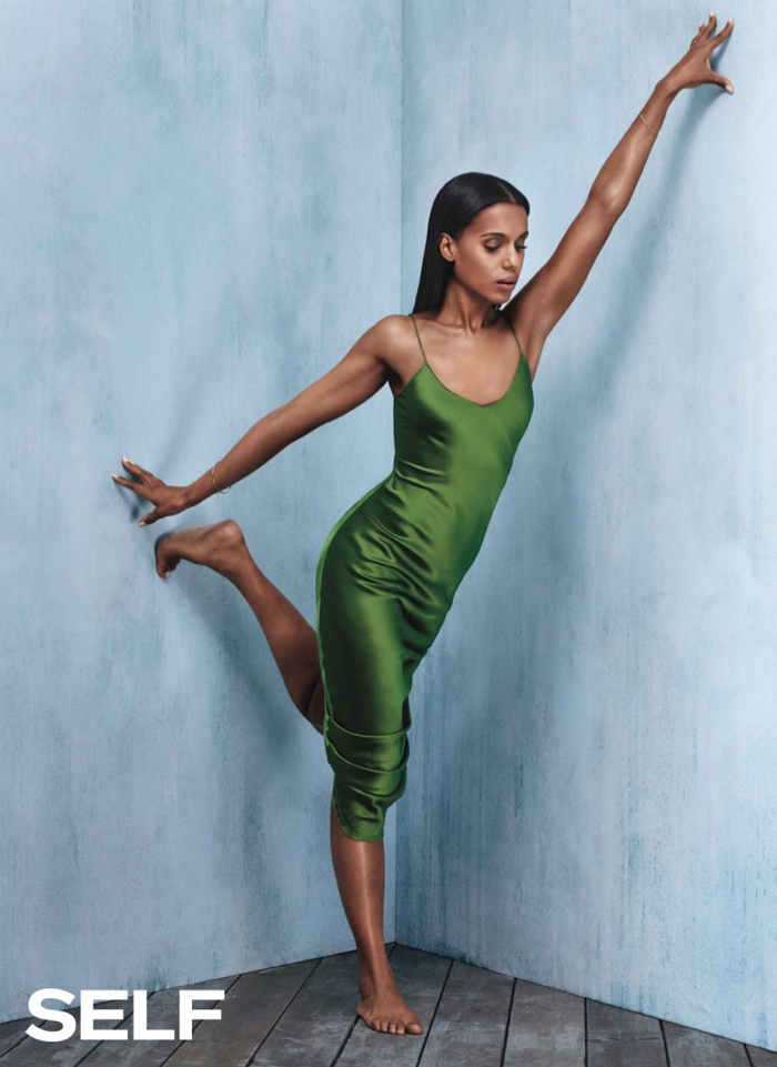 Kerry wears a green slip dress in the shoot