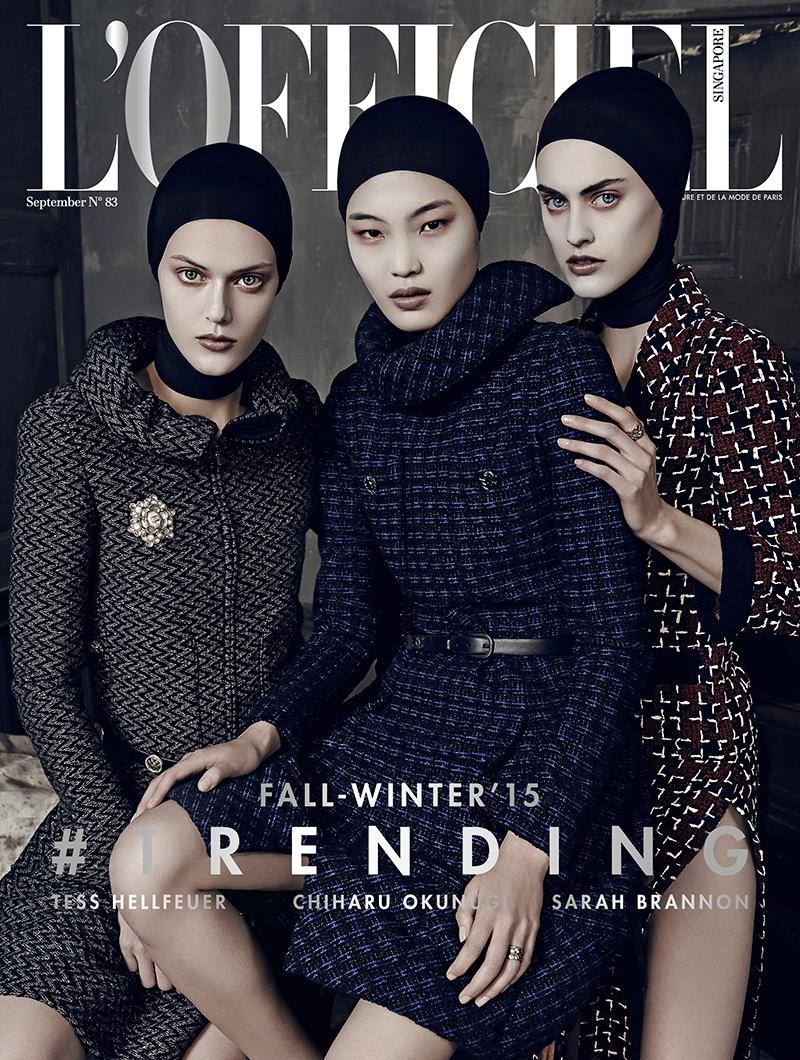 Sarah Brannon, Chiharu Okunugi and Tess Hellfeuer on L'Officiel Singapore September 2015 cover