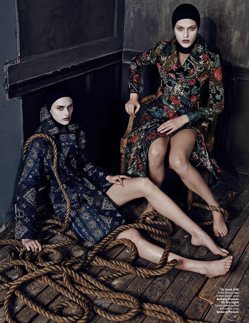 Sarah and Tess wear embellished Burberry Prorsum coats