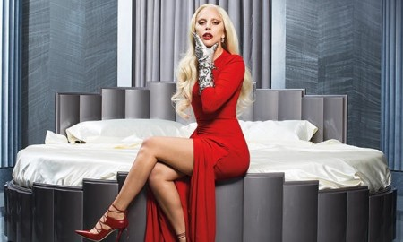 Gaga wears red dress with high slit detail