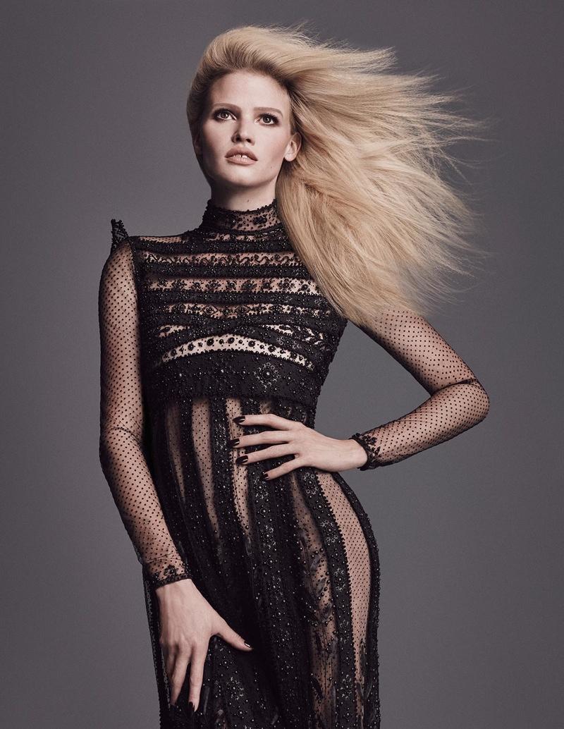 Lara Stone in Valentino haute couture