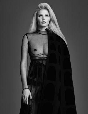 Lara Stone is a Sheer Beauty in Valentino for W Korea