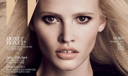Lara Stone on the September 2015 cover of W Korea