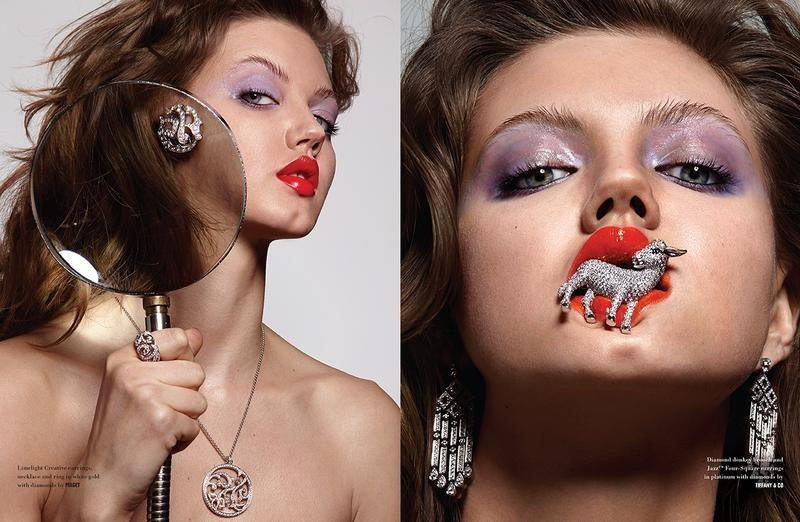The model poses for Donna Trope in a jewelry editorial