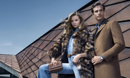 Magdalena wears fur coat with denim on denim ensemble