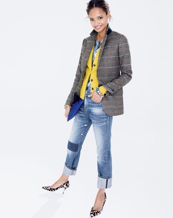 Malaika wears blazer and selvedge denim from J. Crew