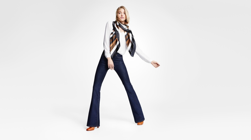 Martha wears flared jeans from Lindex