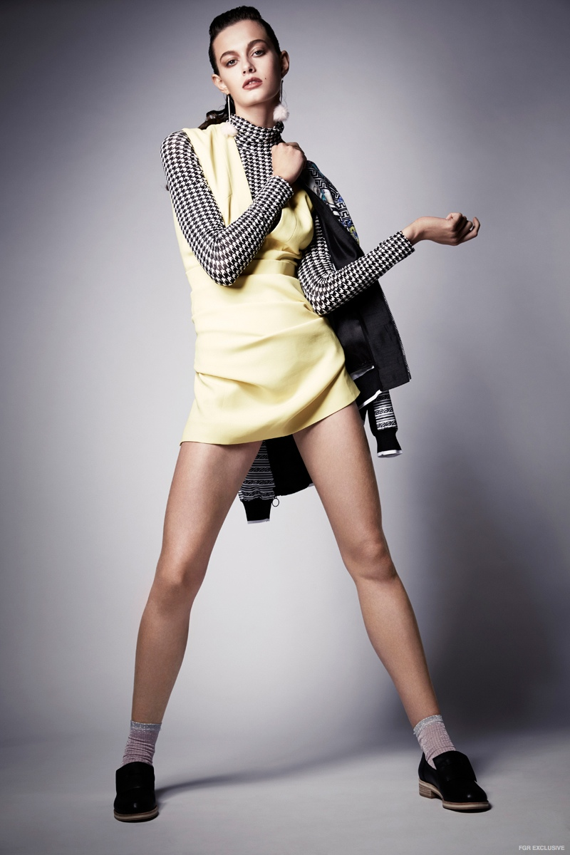 Victoria Beckham Dress, Stylist's own Bodysuit, Clover Canyon Jacket, Karen Walker x Beau Coops Shoes, Stylist's own Socks