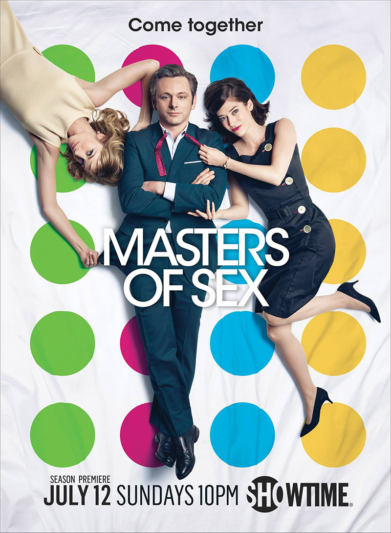 Masters of Sex season 3 poster with Caitlin FitzGerald, Michael Sheen and Lizzy Caplan