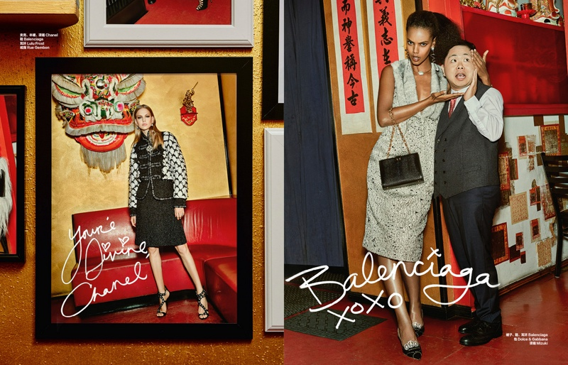 (L) Chanel is spotlighted with (R) Balenciaga