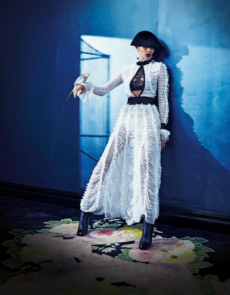 Binx models Alexander McQueen dress