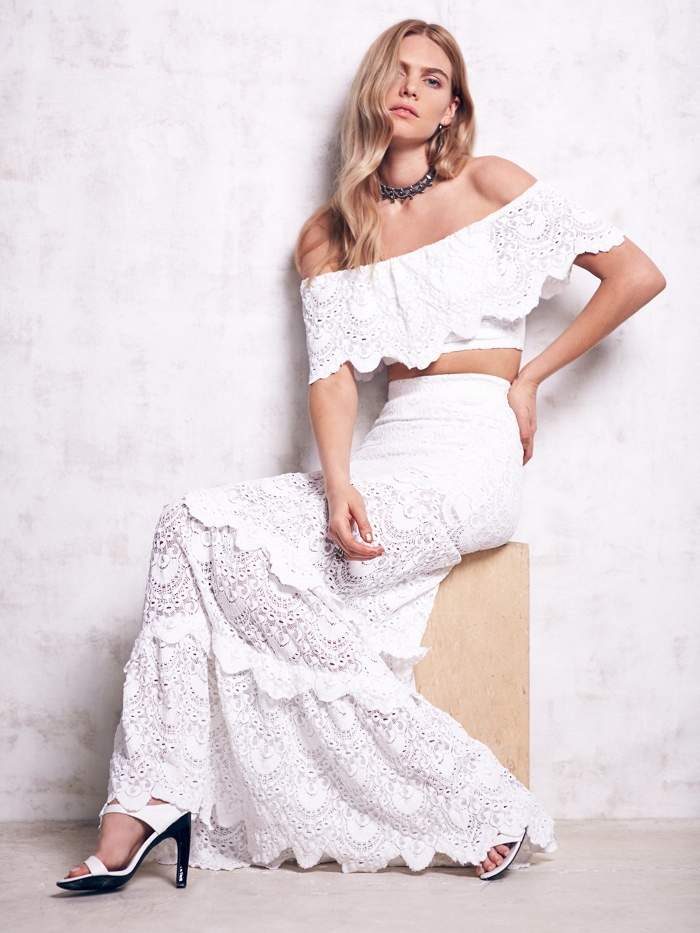 Nightcap White Spanish Lace Maxi Set available for $594.00