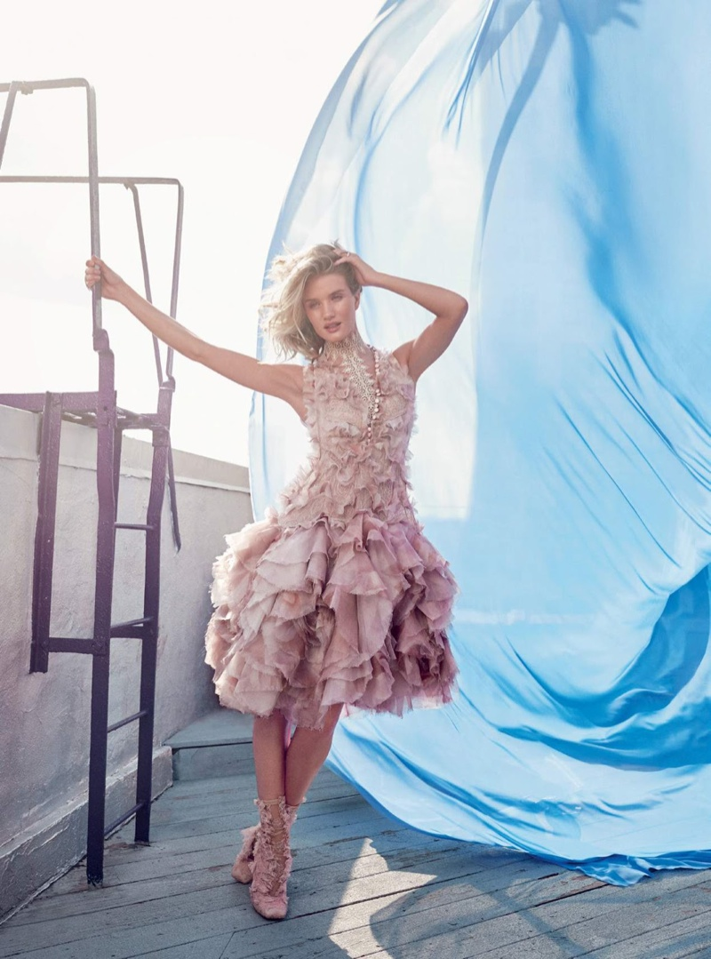 Rosie Huntington-Whiteley Models Pastel Style for Harper's Bazaar UK