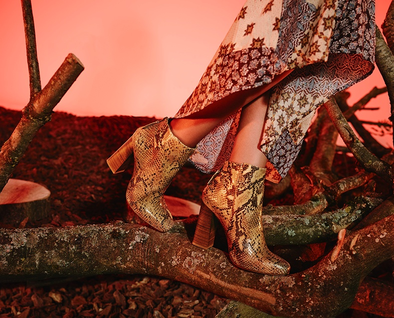 Schuh features a python print boot in its fall 2015 campaign