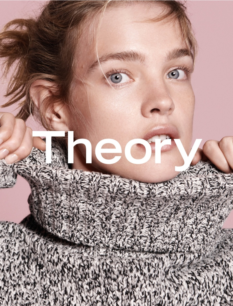 Natalia sports a messy updo for Theory's fall 2015 campaign