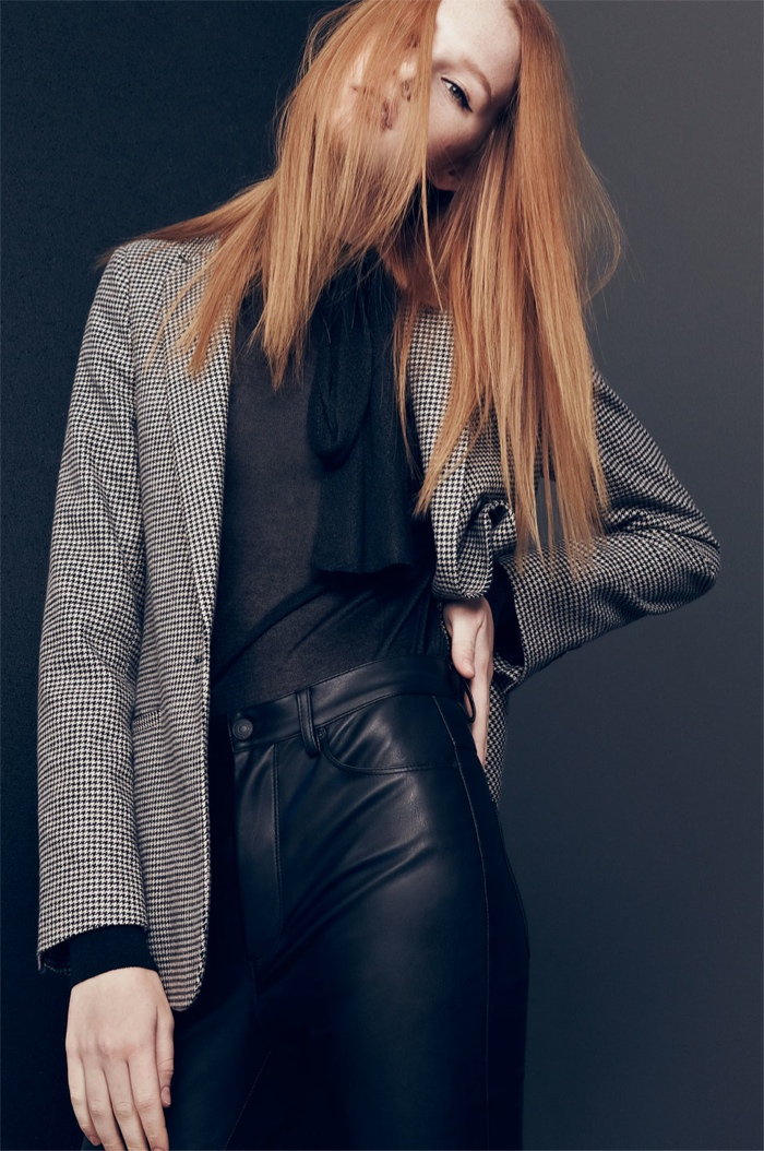 Zara takes on rock and roll style with a leather pant look