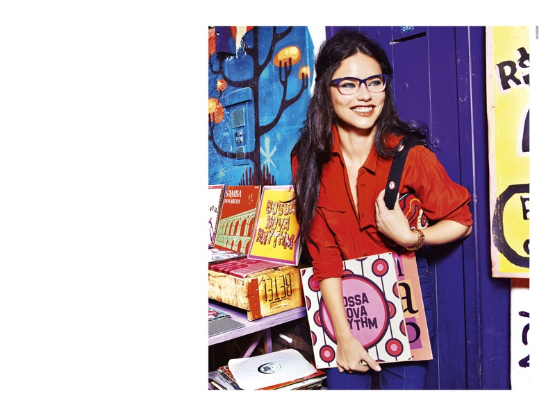 Adriana is all smiles in Vogue Eyewear's fall advertisement