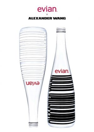 Alexander Wang Designs evian Bottles with His Signature Bar Code