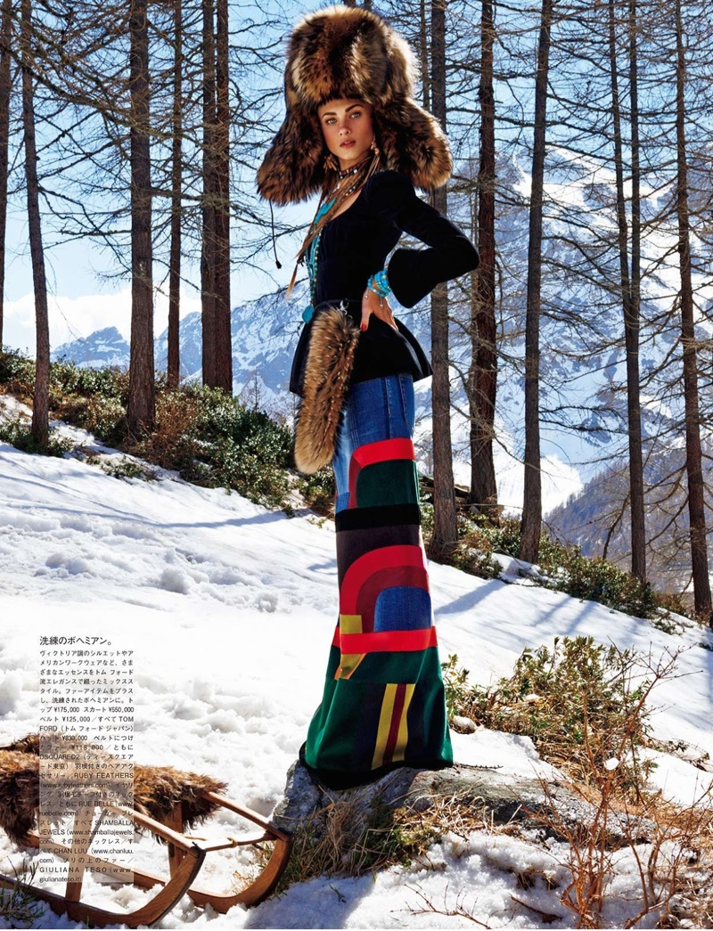 Anna Selezneva Gets Nomadic for Vogue Japan Editorial