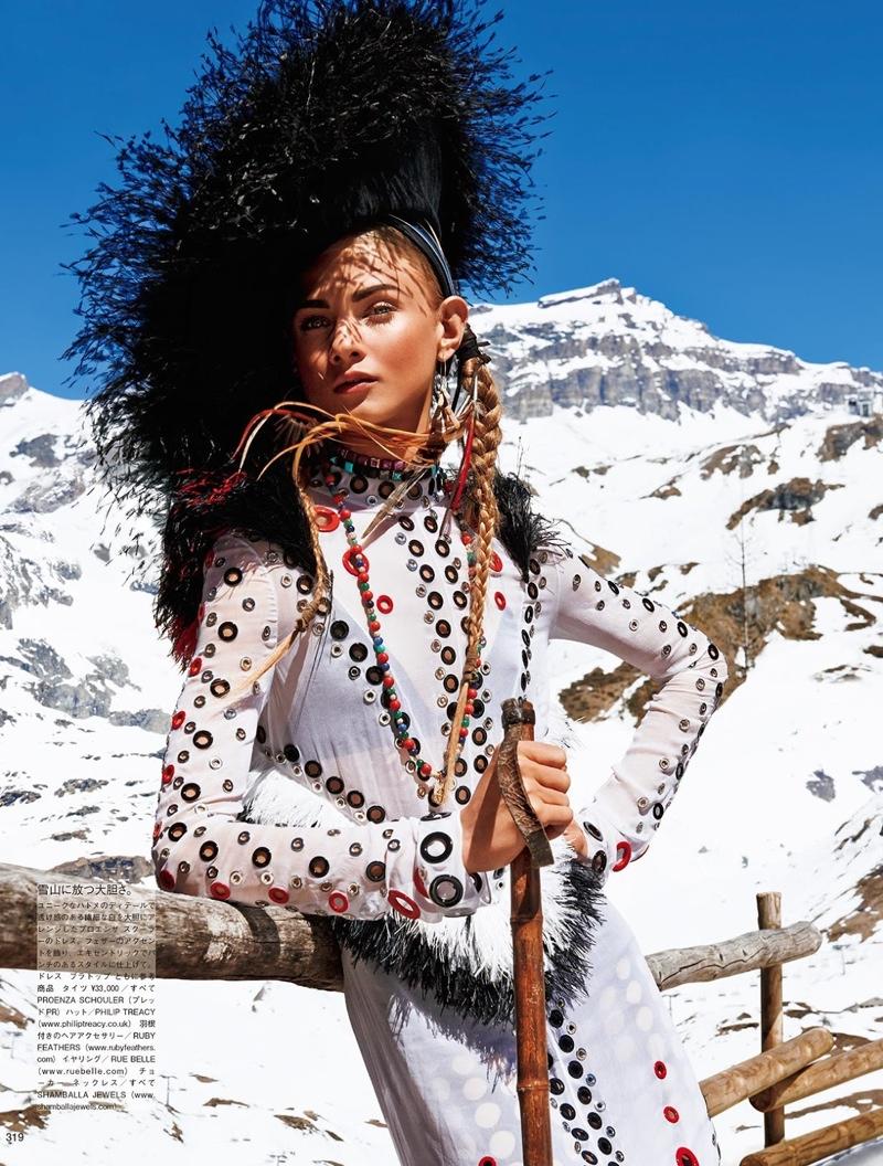 Anna Selezneva Gets Nomadic for Vogue Japan Editorial