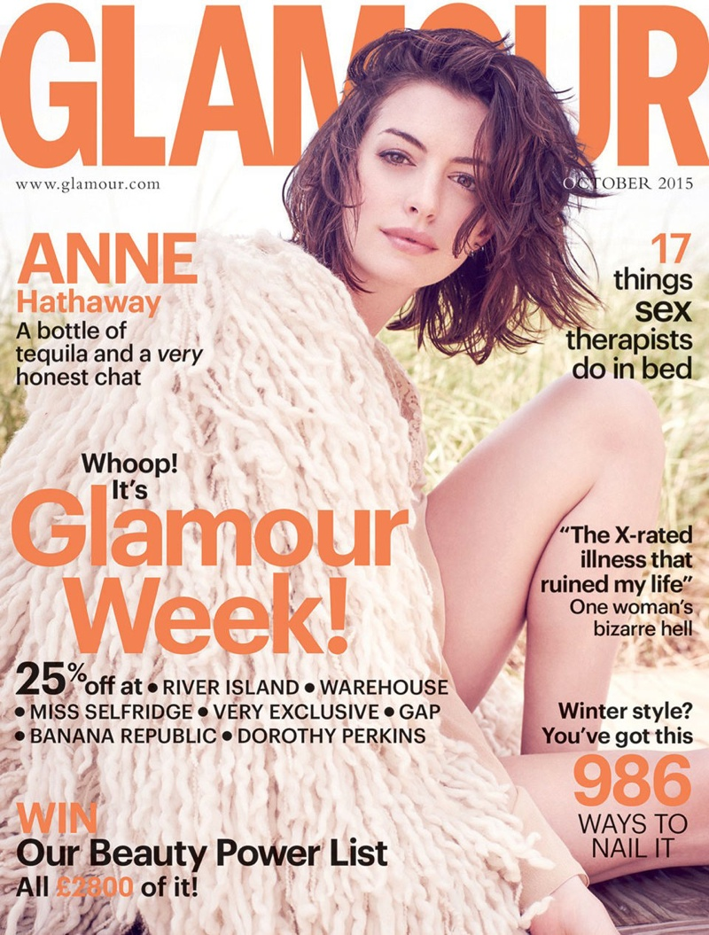 Anne Hathaway on Glamour UK October 2015 cover