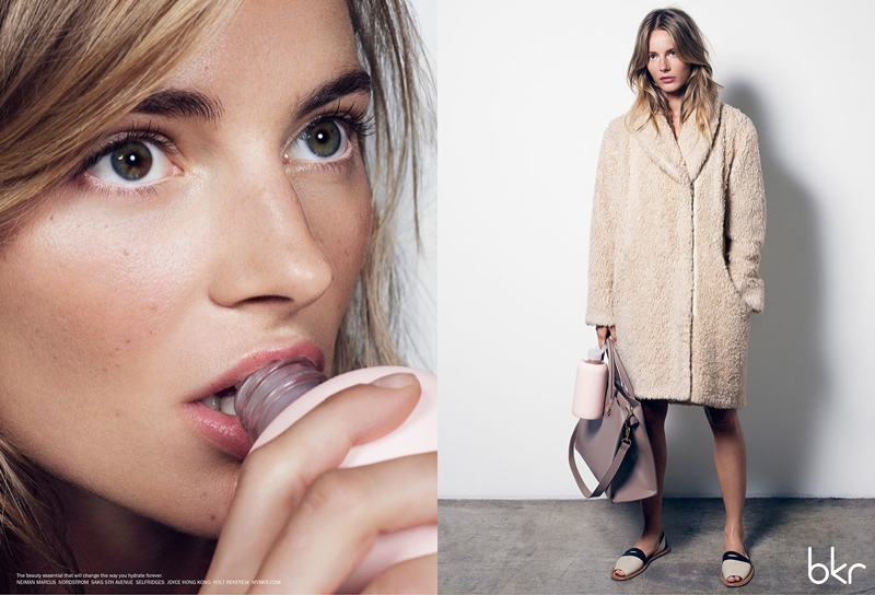 Model Ieva Laguna stars in campaign for the bkr water bottle photographed by Alisha Goldstein.