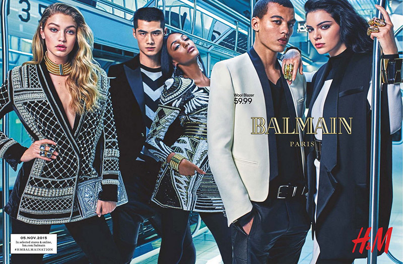 A teaser image of Balmain's H&M campaign has been unveiled with top models Gigi Hadid, Kendall Jenner and Jourdan Dunn. The pair pose alongside Dudley O'Shaughnessy and Hao Yun Xiang in the Mario Sorrenti lensed image.
