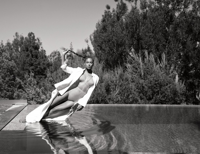 Beyonce goes lakeside in a La Perla bra and underwear look