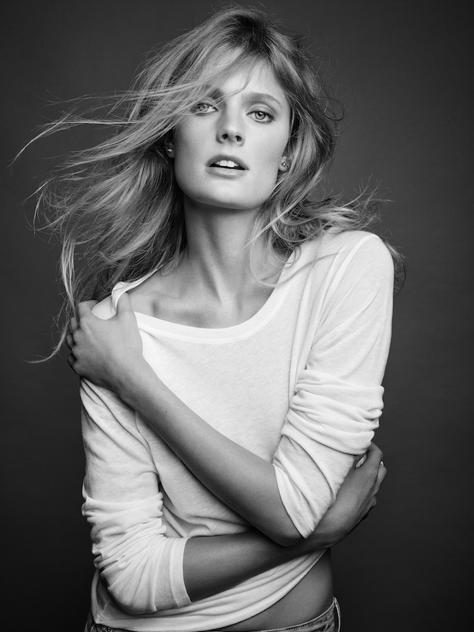 Constance Jablonski wears a cashmere knit from Majestic Filatures