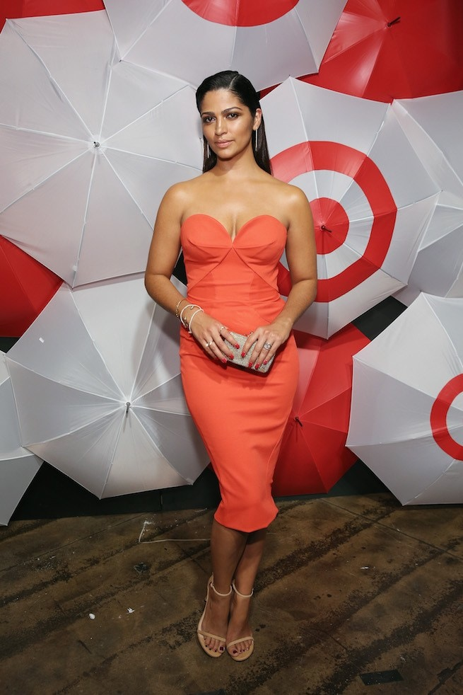 Camila Alves flaunts her curves in strapless orange dress
