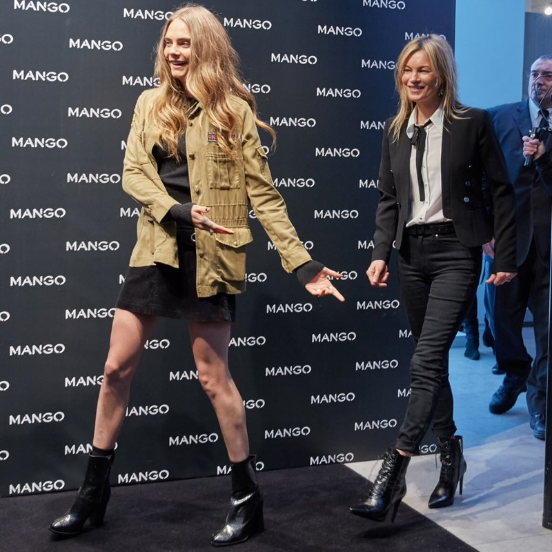 Cara Delevingne and Kate Moss at Mango store opening in Milan on September 23. Photo via Mango