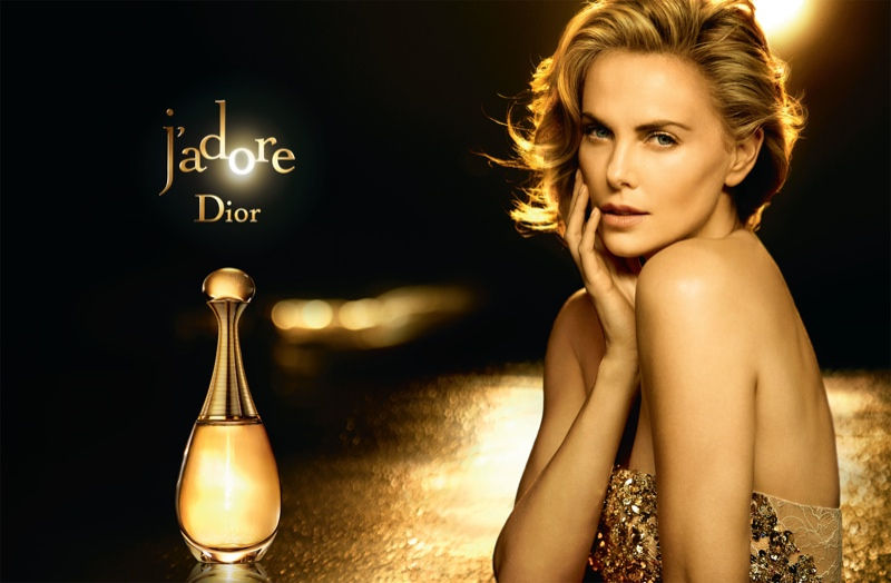 Charlize Theron Glitters Like Gold in Dior J'adore Fragrance Ad