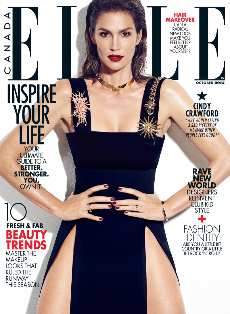Cindy Crawford on the October 2015 cover of ELLE Canada