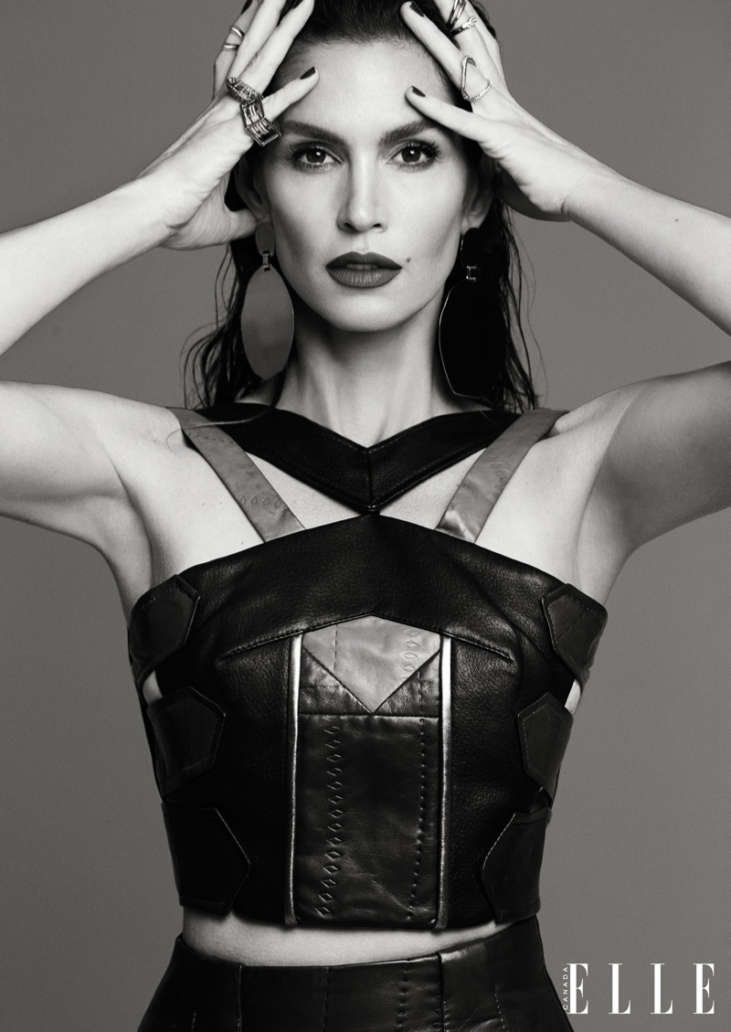 Cindy models a body-con look for ELLE Canada feature