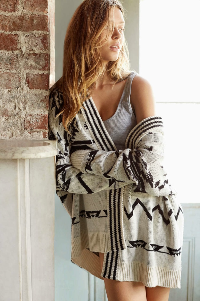Ecote Patterned Oversized Cardigan available for $49.00