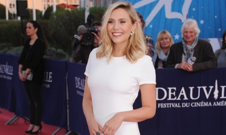 Elizabeth Olsen at the Deauville Film Festival wearing a Calvin Klein Collection gown. Photo: Francois G. Durand/WireImage