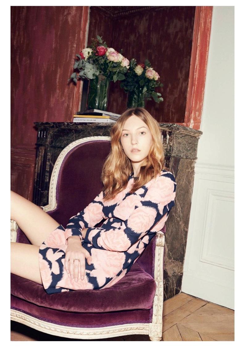 Ella Rose Richards wears pink print dress from Paul & Joe sister collaboration